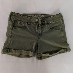 AEO olive green twill midi shorts